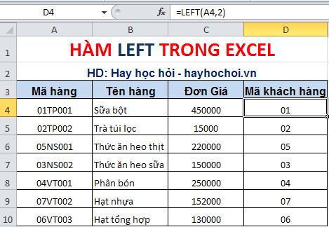 cách sử dụng hàm left trong excel