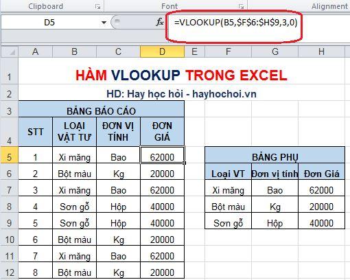 cách sử dụng hàm vlookup trong excel 2010