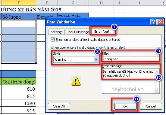 kiểm tra dữ liệu nhập với data validation