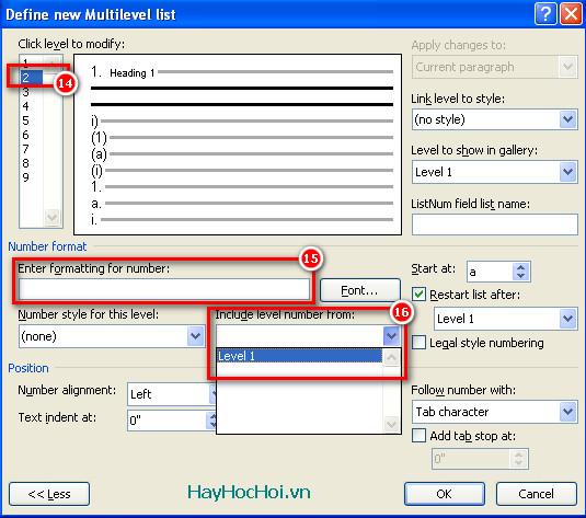 tạo multilevel list cấp 2