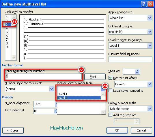 thiết lập multilevel list cấp 3