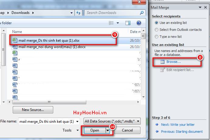trộn thư với mail merge trong word 2010