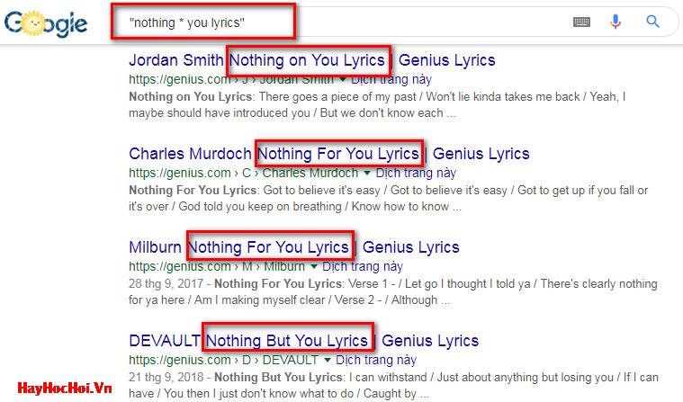 sử dụng dấu sao trong tìm kiếm google