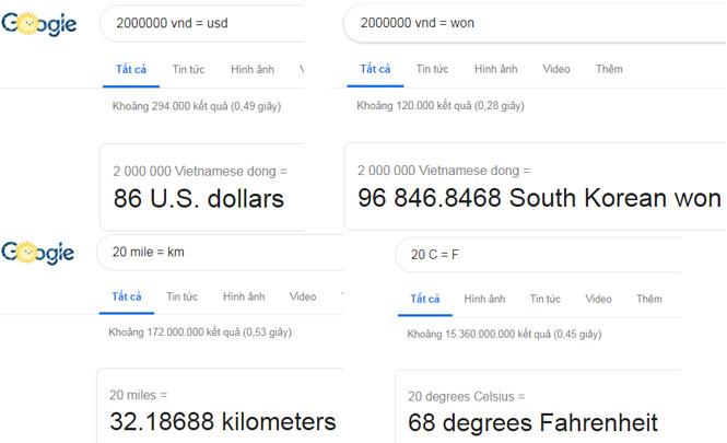 chuyển đổi tiền tệ đơn vị trên google
