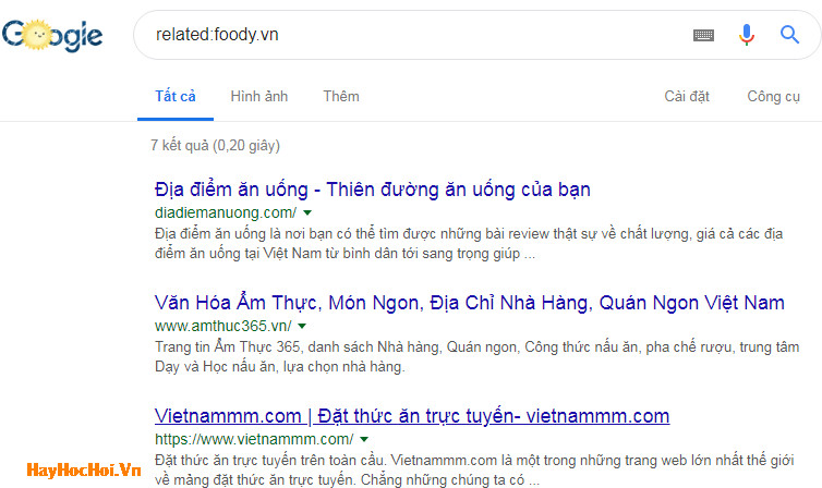 sử dụng từ khóa tìm kiếm related trên google