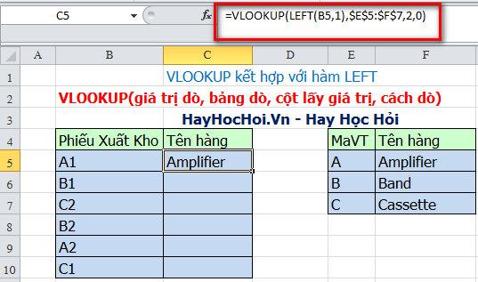 kết hợp hàm vlookup và left