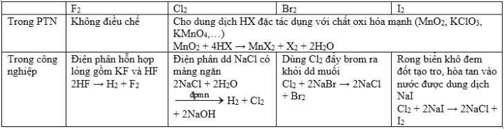 phương pháp điều chế flo brom iot clo