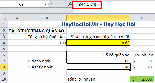 sử dụng goal seek trong what if analysis