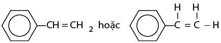 công thức cấu tạo của stiren (vinylbenzen)