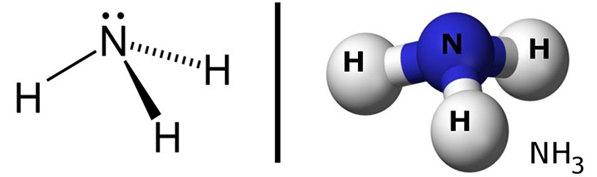 cấu tạo phân tử NH3 amoniac
