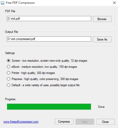 Phần mềm nén file PDF Free PDF Compressor
