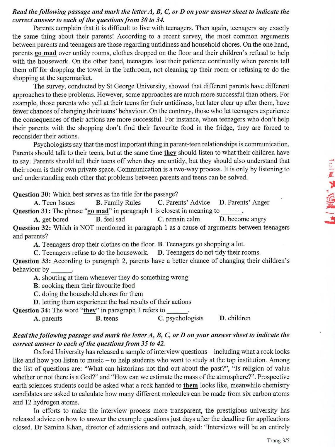 đề thi minh họa 2020 môn Tiếng Anh THPT QG