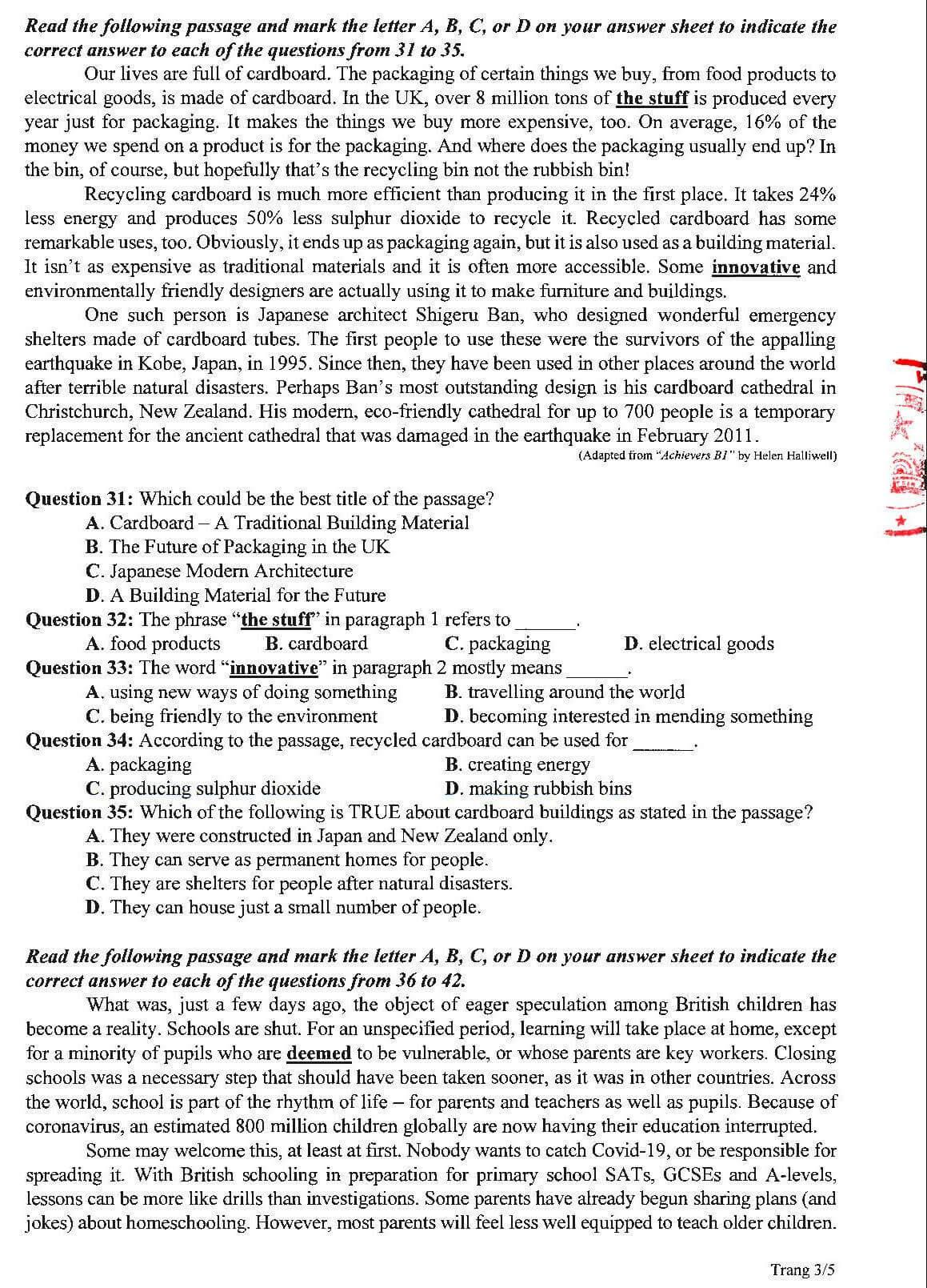 Đề thi tham khảo môn Tiếng Anh tốt nghiệp THPT 2020 p3