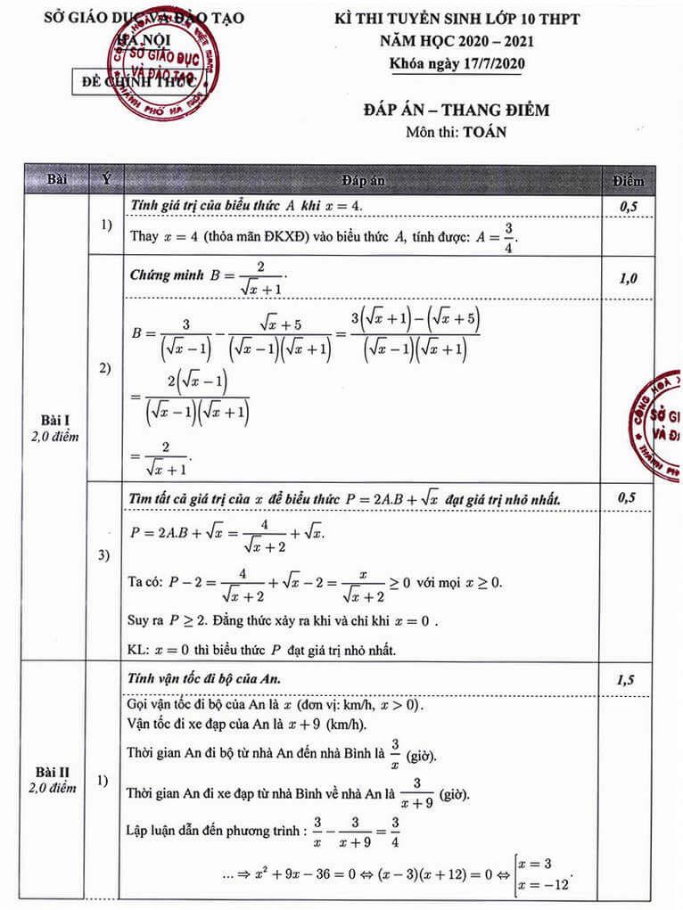 Đáp án đề thi tuyển sinh lớp 10 môn Toán 2020 Hà nội 01