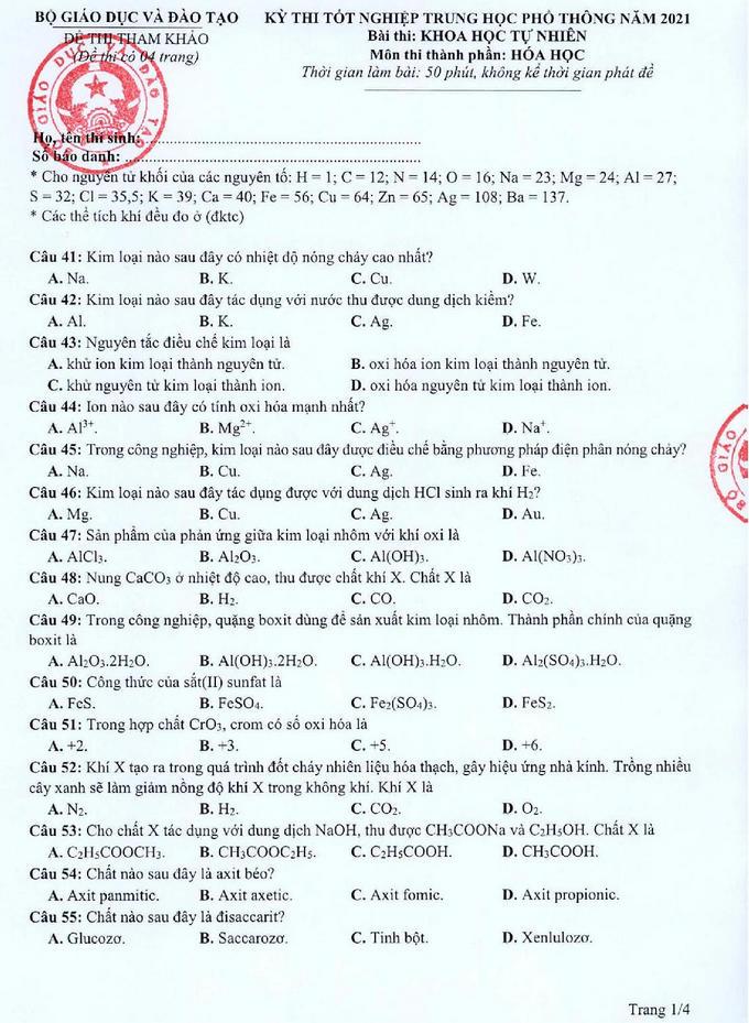 Đề tham khảo thi tốt nghiệp THPT 2021 môn Hóa học p01