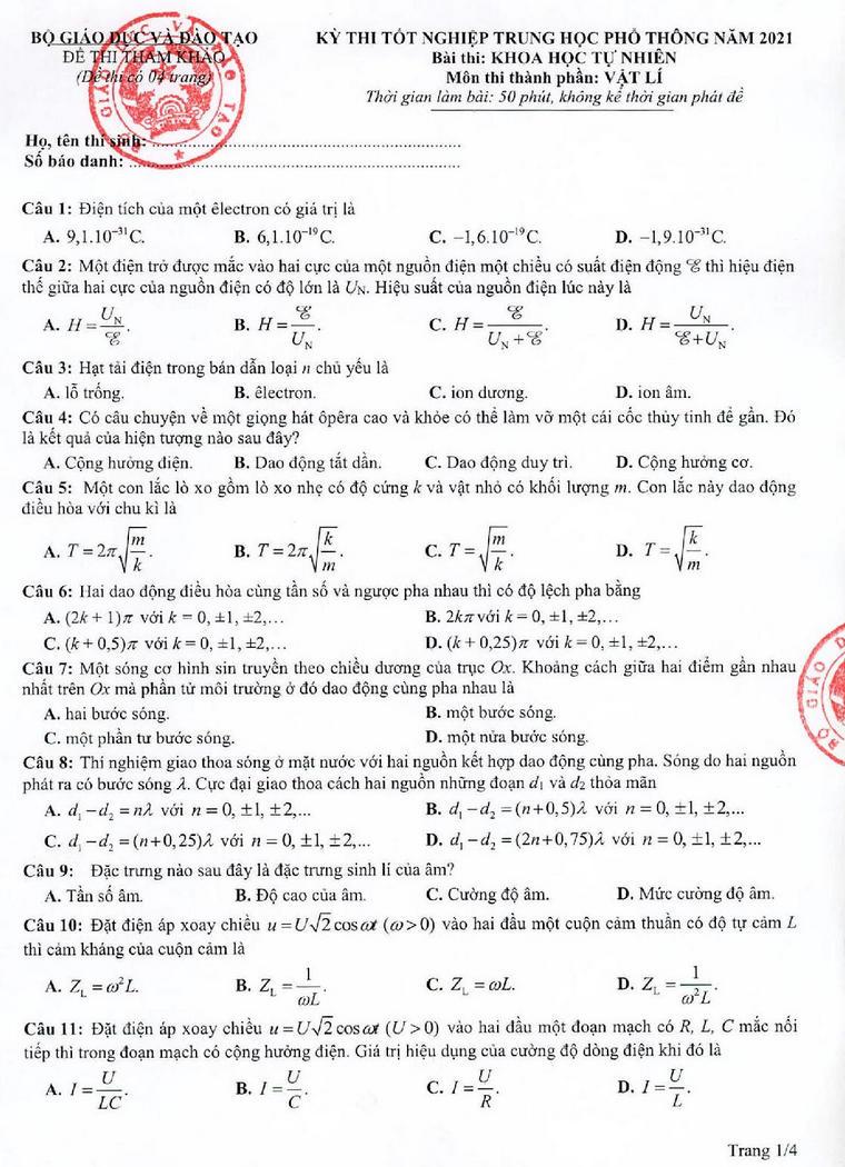 Đề tham khảo thi tốt nghiệp THPT 2021 môn Vật lý p1